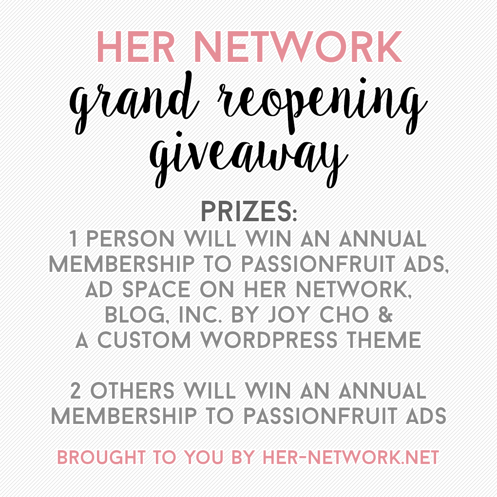 Her Network Grand Reopening Giveaway!